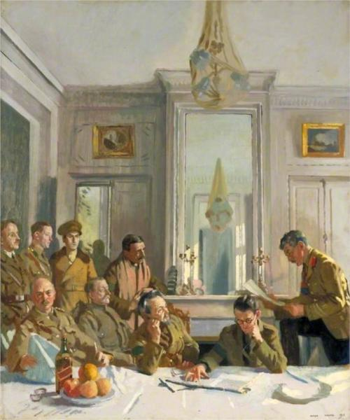 Some Members of the Allied Press Camp with Their Press Officers, 1918 - William Orpen