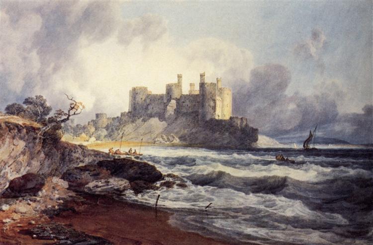 Fine Art Landscape Sepia Wales 1902 Conway Castle by Turner Original Antique Matted Photogravure William Turner