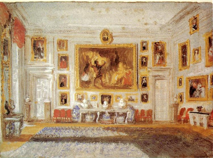 Petworth, the Drawing room, Bodycolor on blue paper, c.1828 - J.M.W. Turner