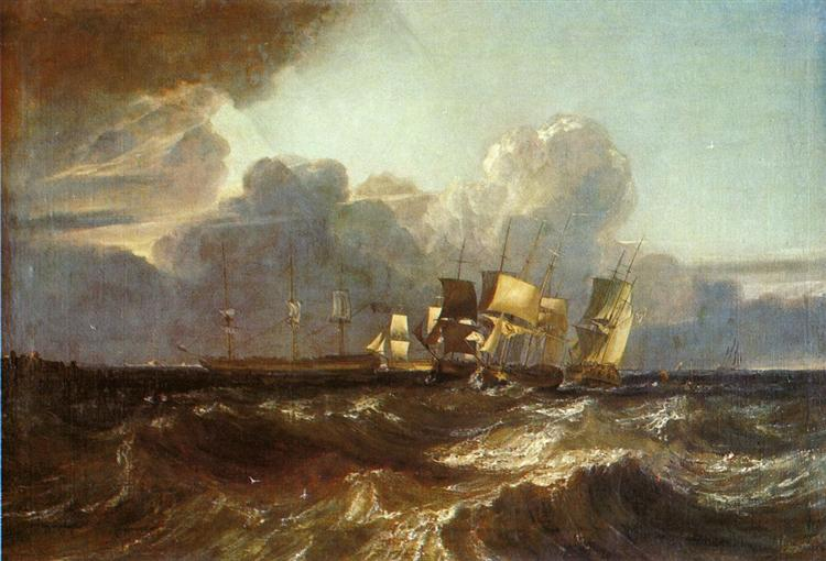 Ships Bearing up for Anchorage ('The Egremont Sea Piece') - J.M.W. Turner