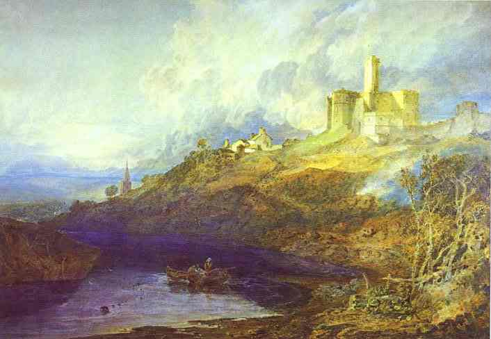 Warkworth Castle, Northumberland; Thunderstorm Approaching at Sunset, 1799 - J.M.W. Turner
