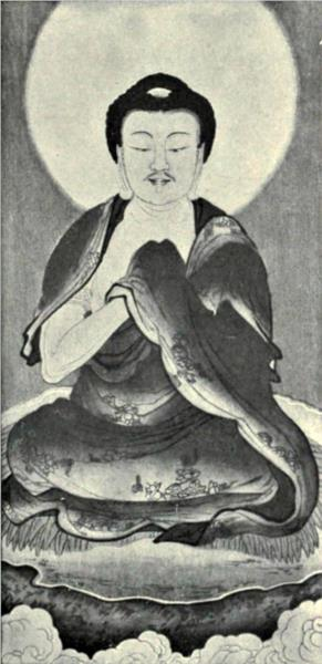 Black and white reproduction of a portrait of Sakyamuni - Wu Daozi