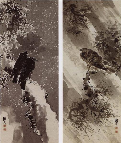 A Black Hawk and Two Crows - Yosa Buson
