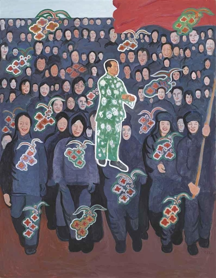 Mao and His People - Blue, 1995 - Yu Youhan