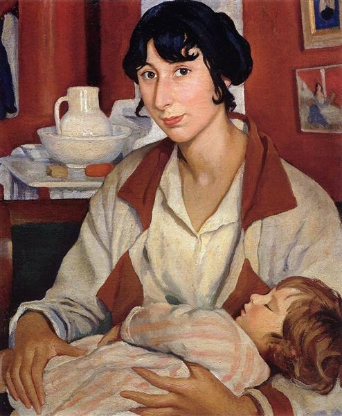Portrait of A.A.Cherkesovoy-Benoit and his son Alexander, 1922 - Zinaida Serebriakova