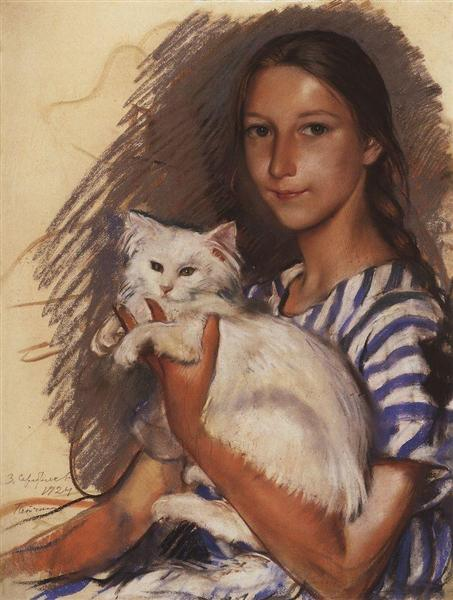 Portrait of Natasha Lancere with a cat, 1924 - Zinaida Serebriakova