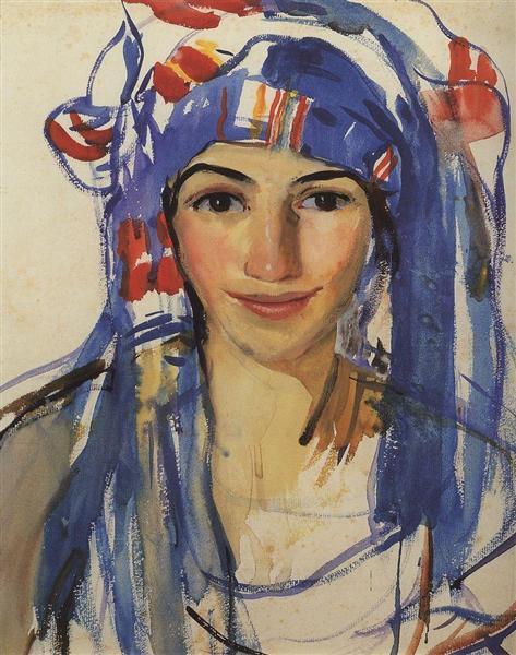 Self-portrait wearing a scarf, 1911 - Zinaida Serebriakova